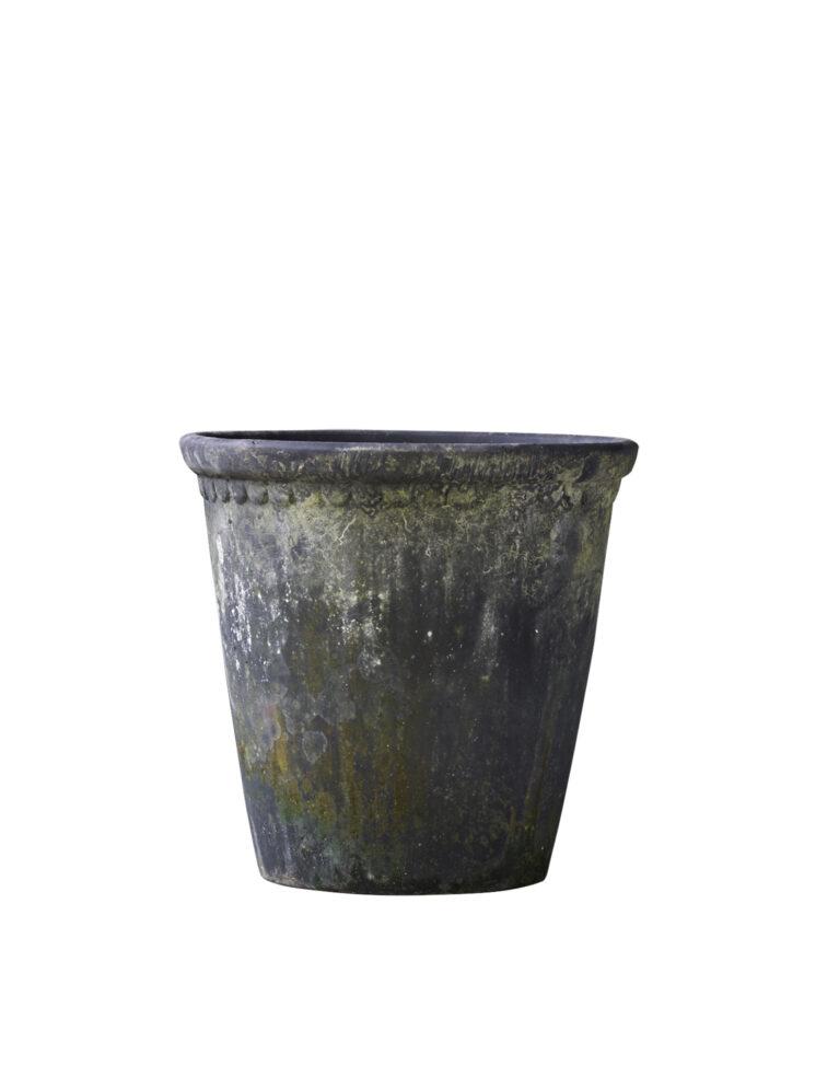 10139909-14 B.Green lacepot Choko Patina Clay Pot