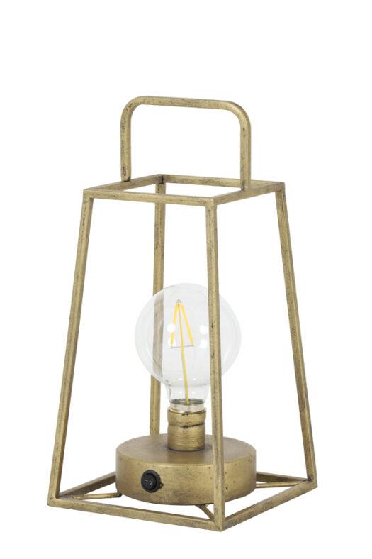 1837818 - Table lamp lantern LED 15x15x30,5 cm FAUVE antiq bronze+lamp