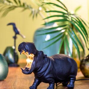 Matte Black Hippo Table Lamp