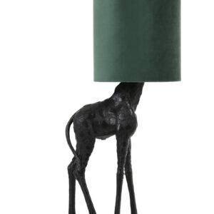 Black and Dark Green Velvet Giraffe Table Lamp