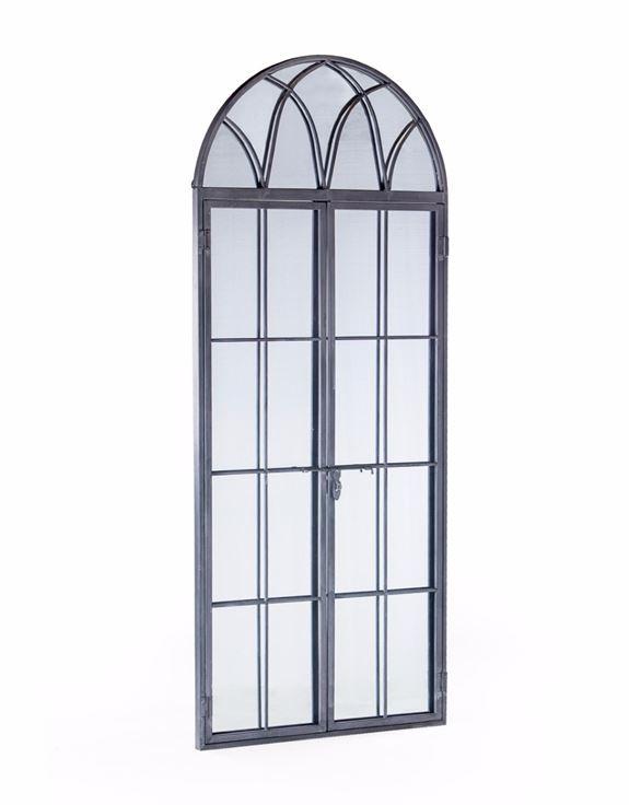 Antiqued Lead Grey Iron Tall Arch Window Mirror