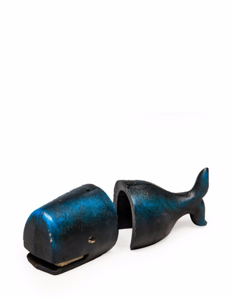 These delightful and very unusual Cast Iron Antiqued Pair of Whale Bookends are a real show piece in your home or study. Buy online at Tang & Co. Home