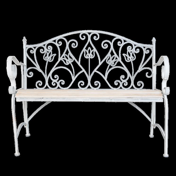 5Y0254 White Metal Garden Bench
