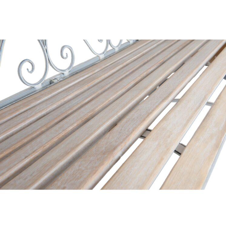 5Y0254_2 White Metal Garden Bench
