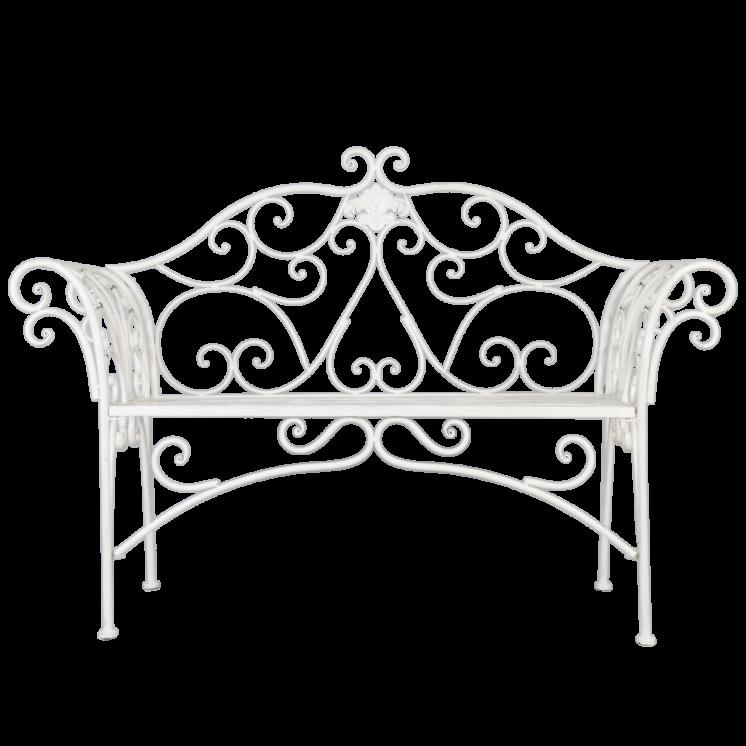 Ornate White Garden Bench 5Y0292_1