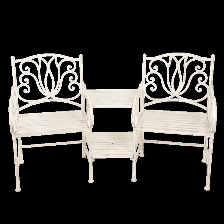 5Y0460 White Distressed Garden Bench Set