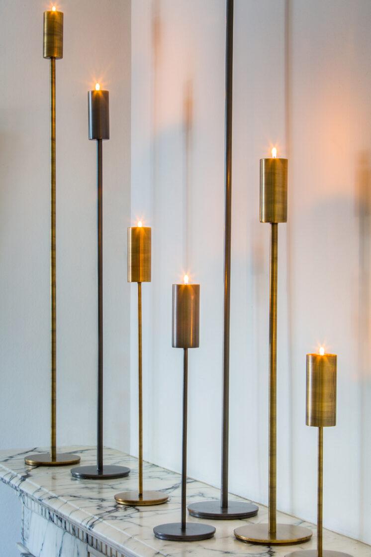 6190418 (B) - Tealightholder on base Ø10x50 cm BAYA antique bronze
