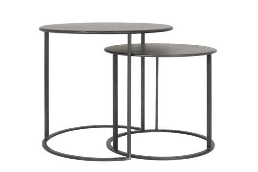 6729312 - Side table S_2 Ø50x44+Ø60x54 cm TILIVI black