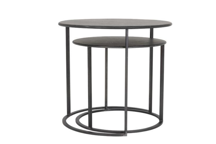6729312 (b) - Side table S_2 Ø50x44+Ø60x54 cm TILIVI black
