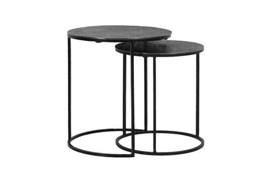 6739016 - Side table S:2 Ø41x46+Ø49x52 cm RENGO texture black nickel