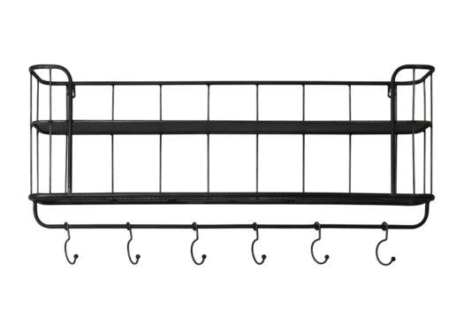6940212 - Hatstand 6 hooks 80x16x20 cm VELASCO black