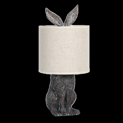 6LMC0013 Bronze Rabbit Lamp with White Shade