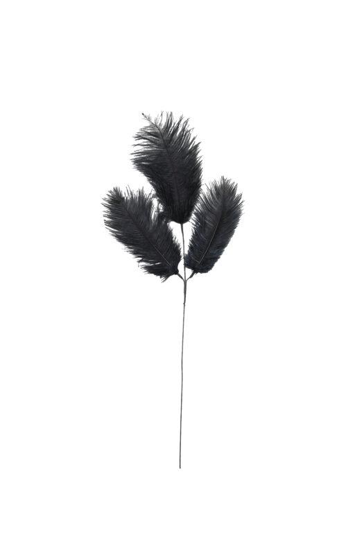 7422412 Black Ostrich Feather Three Stem