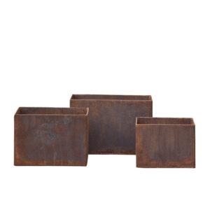 Small Alba Corten Steel Planters – Set of 3