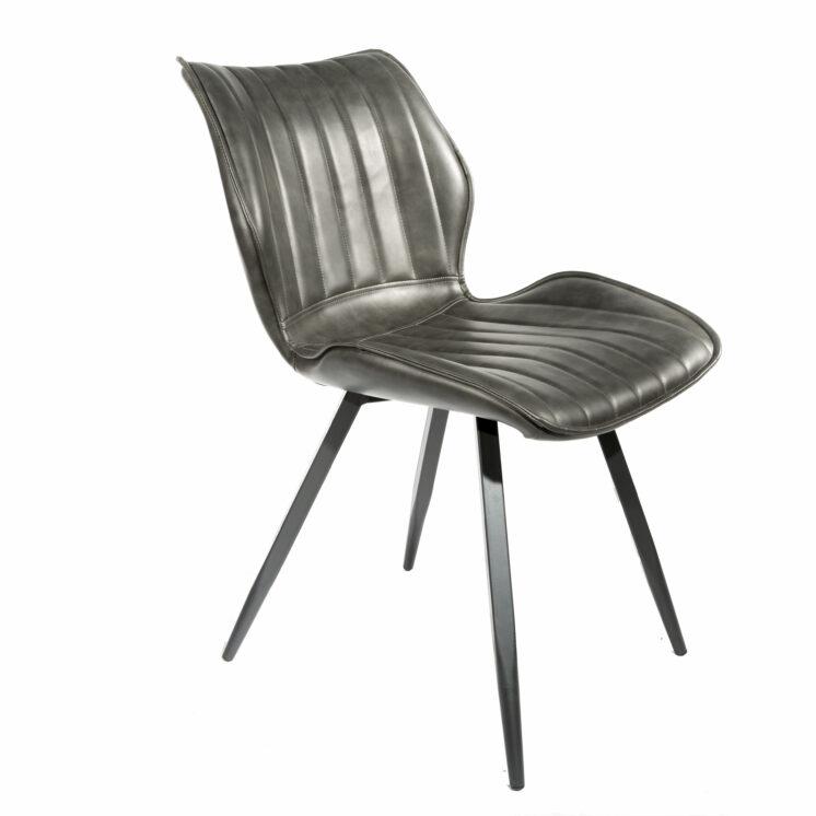 Alfa Vegan Alfa Leather Dining Chair ALF01BSET-Grey