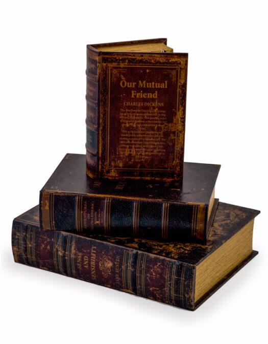 ANTIQUE BOOK SET OF 3 STORAGE BOXES ITEM CODE: WB6