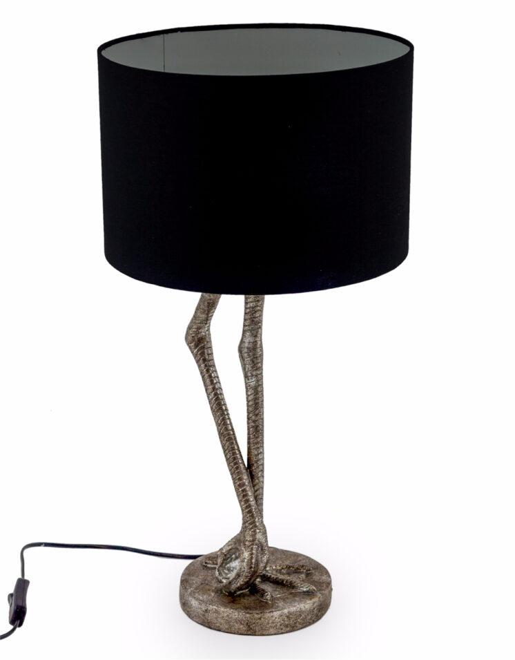 ANTIQUE SILVER FLAMINGO LEG TABLE LAMP BLACK SHADE ITEM CODE: TL63