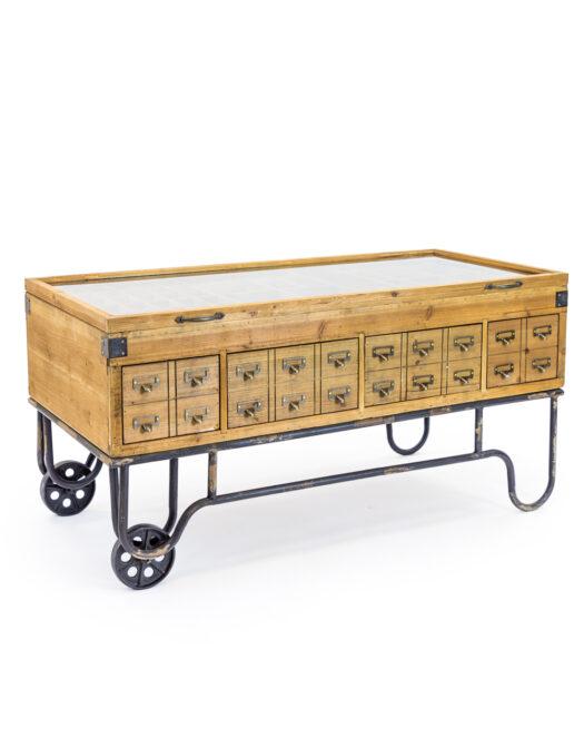Antiqued Wooden Industrial Display Coffee TableAntiqued Wooden Industrial Display Coffee Table ANTIQUED WOODEN INDUSTRIAL DISPLAY COFFEE TABLE ITEM CODE- RFB22
