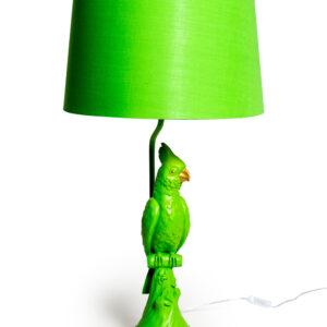 Matt Green Parrot Table Lamp with Metallic Lined Green Shade
