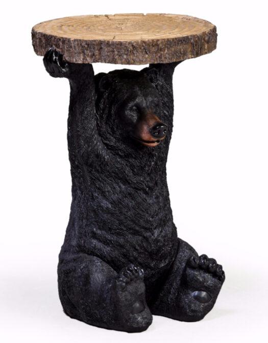 Black Bear Holding Trunk Slice Side Table BD120