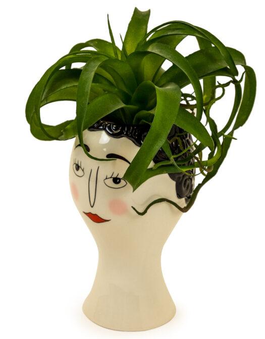 CERAMIC DOODLE WOMAN'S FACE VASE - BLUSH ITEM CODE- FPC17