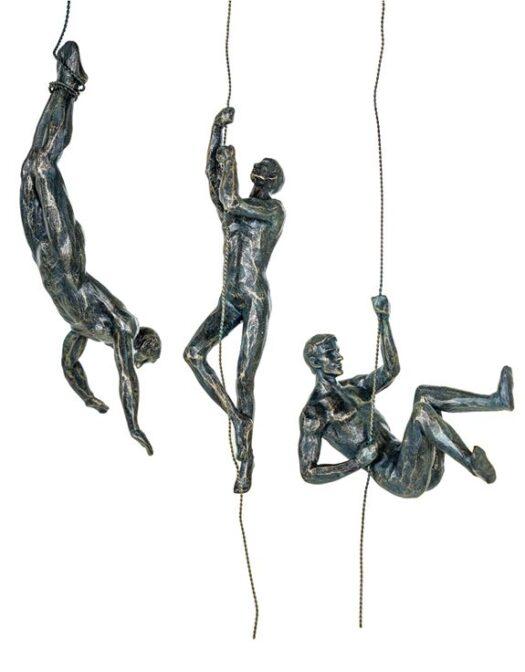 - CRT9 Set of 3 Antique Bronze Abseiling Men Wall Figures