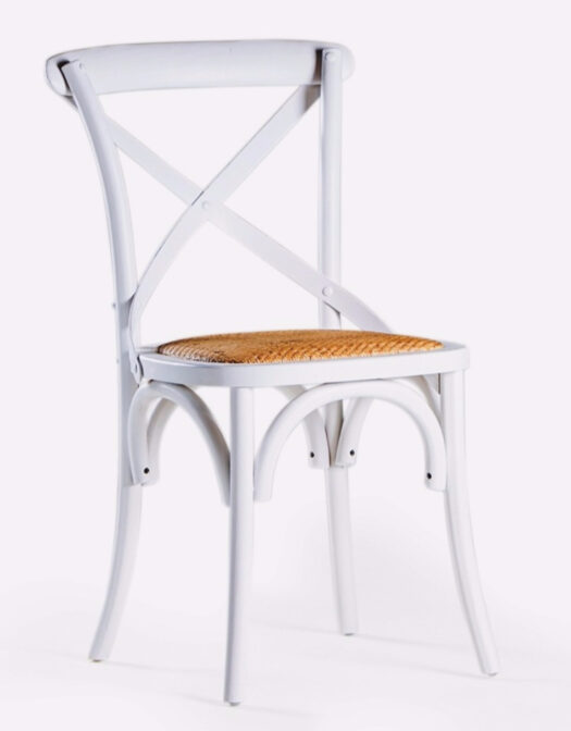 DISTRESSED WHITE ASH DINING CHAIR WITH RATTAN SEAT ITEM CODE- FR45