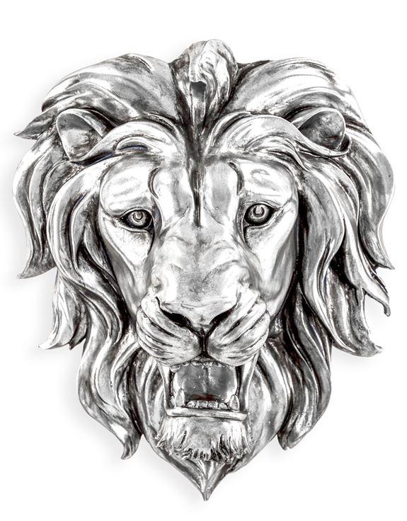 DVM28 Large Silver Roaring Lion Wall Head