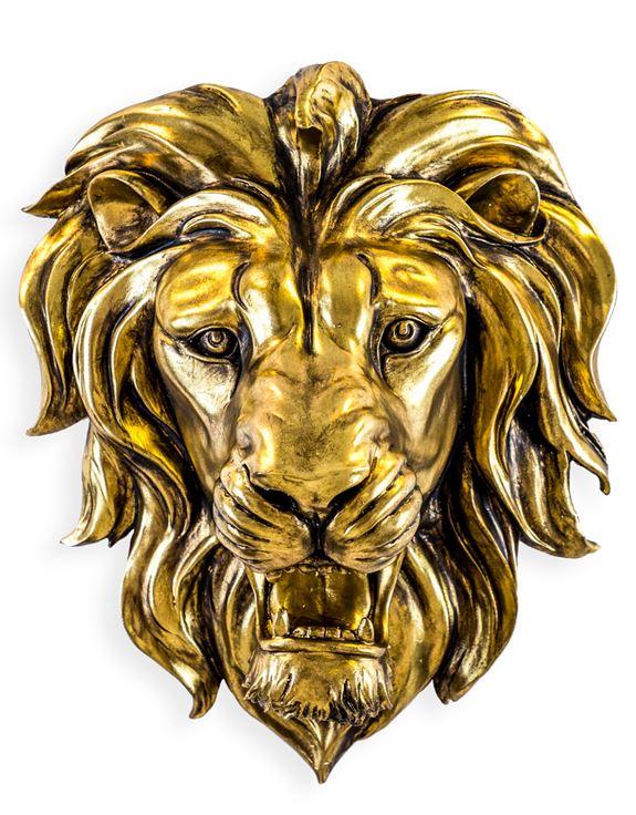 DVM29 Large Gold Roaring Lion Wall Head
