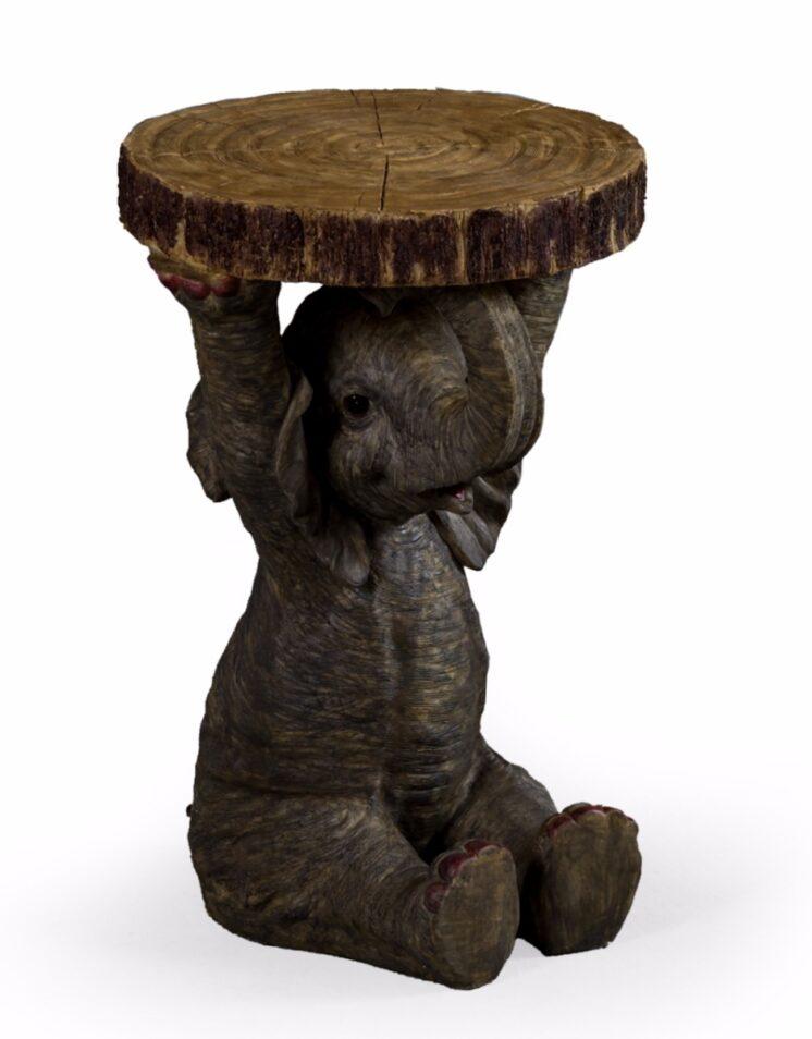 Elephant Holding Trunk Slice Side Table BD133