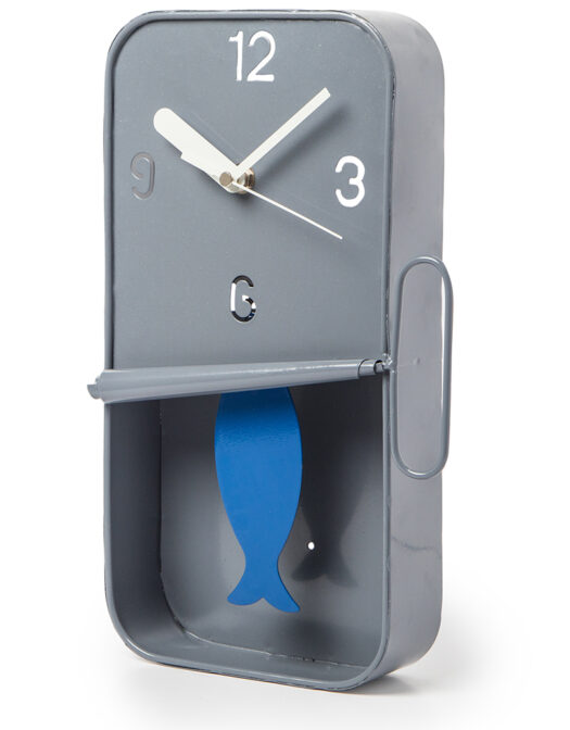 GREY METAL SARDINE TIN PENDULUM WALL CLOCK ITEM CODE- HKL11