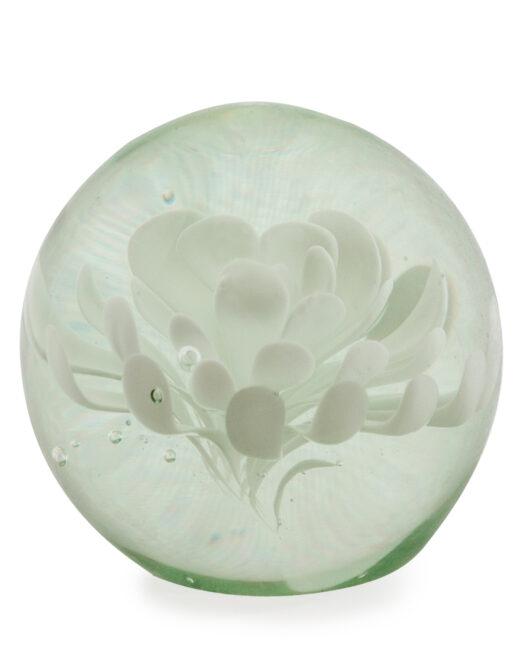 White flower glass ball paperweight