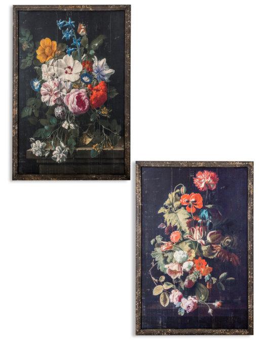 JCS10 Set of 2 Boho Floral Antiqued Wall Prints
