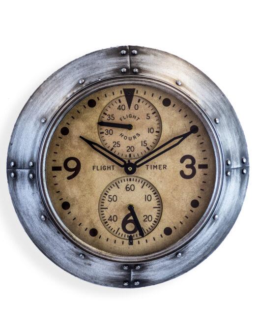 """ANTIQUE SILVER FRAMED """"FLIGHT HOURS"""" AVIATION WALL CLOCK JRG31"""