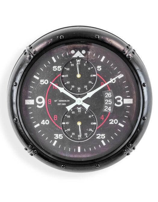 ANTIQUE BLACK FRAMED AVIATION INSTRUMENT WALL CLOCK JRG32