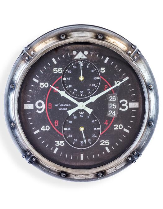 ANTIQUE SILVER FRAMED AVIATION INSTRUMENT WALL CLOCK JRG33