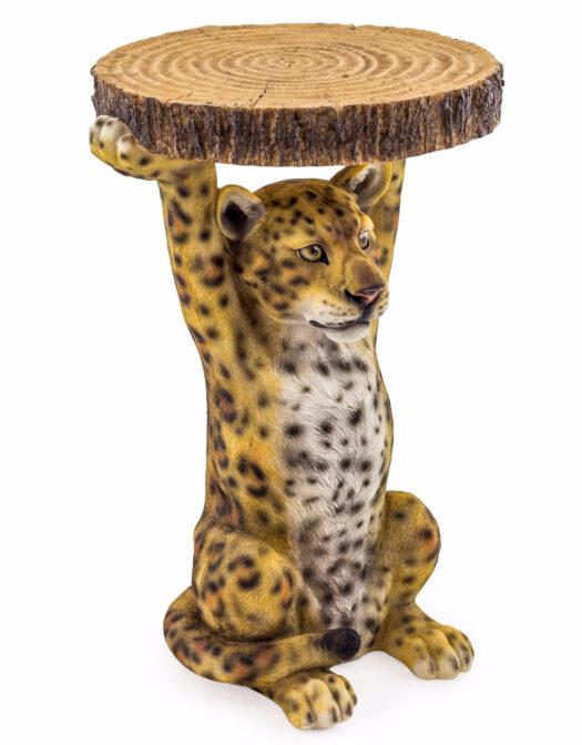 Leopard Holding Trunk Slice Side Table - BD140