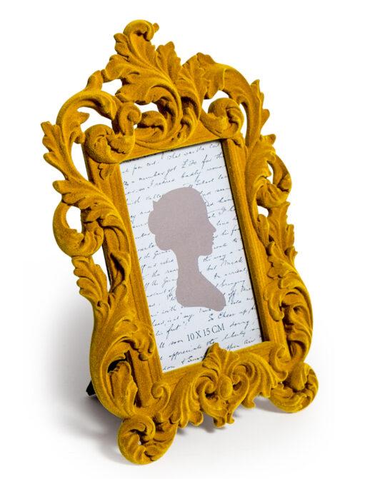 Mustard Yellow Flock Ornate Photo Frame