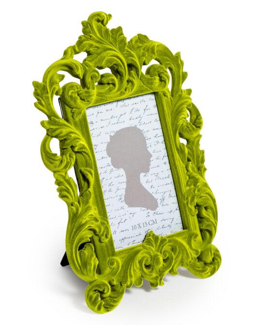 Bright Green Flock Ornate Photo Frame