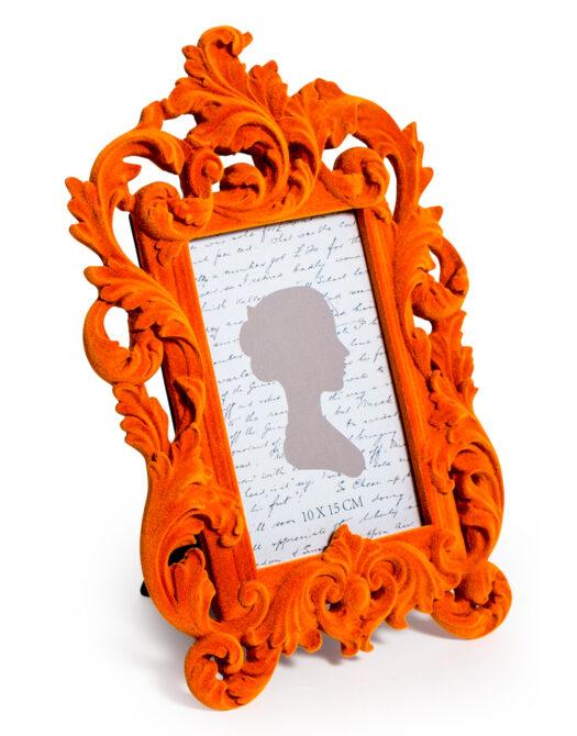 Bright Orange Flock Ornate Photo Frame