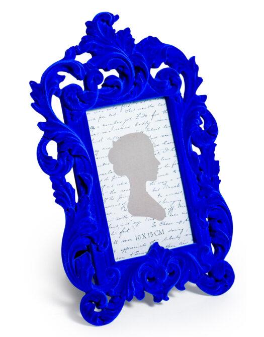 Cobalt Blue Flock Ornate Photo Frame