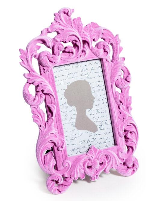 Soft Pink Flock Ornate Photo Frame