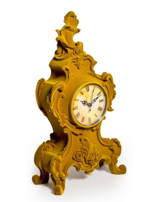 Mustard Yellow Flock Ornate Mantle Clock