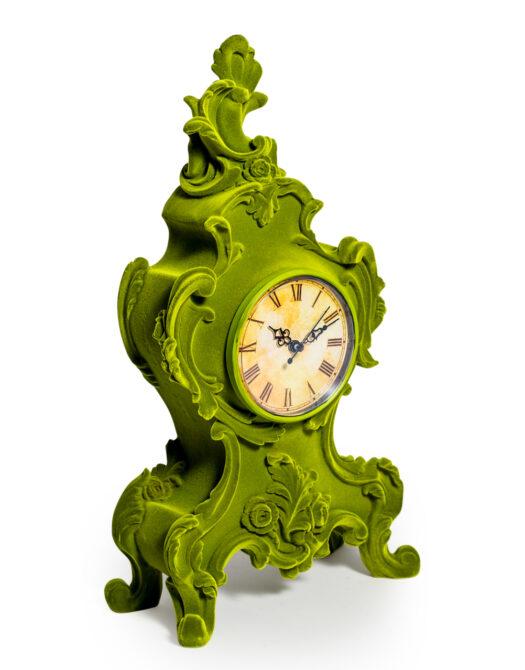 Bright Green Flock Ornate Mantle Clock