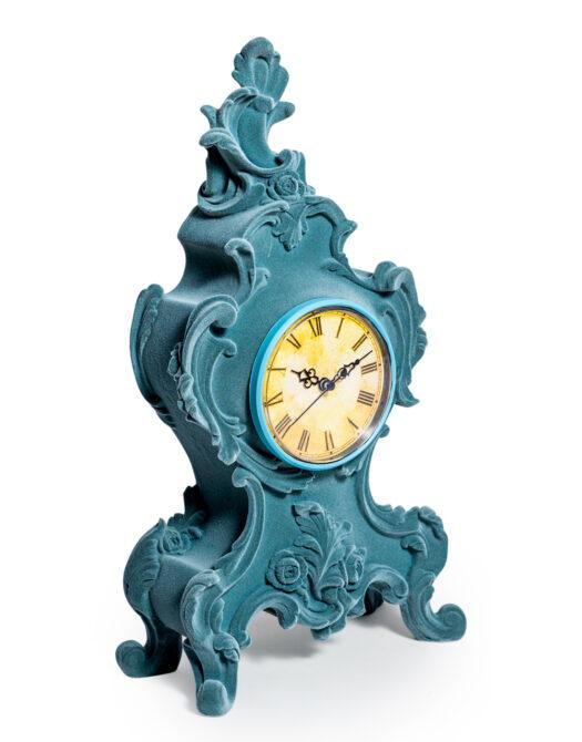 Light Blue/Grey Flock Ornate Mantle Clock