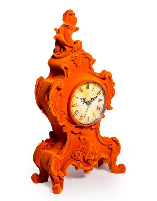 Bright Orange Flock Ornate Mantle Clock