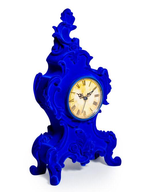 Cobalt Blue Flock Ornate Mantle Clock