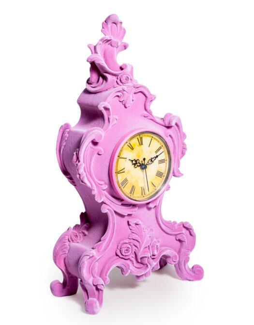 Soft Pink Flock Ornate Mantle Clock
