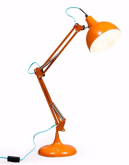 ORANGE TRADITIONAL DESK LAMP (BLUE FABRIC FLEX) ITEM CODE- CL98