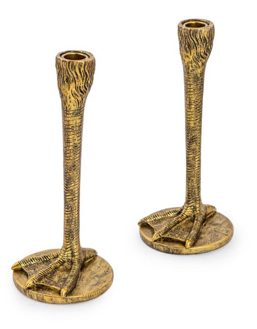 Pair of Antique Gold Bird Leg Candlesticks PAIR OF ANTIQUE GOLD BIRD LEG CANDLESTICKS ITEM CODE- TL92